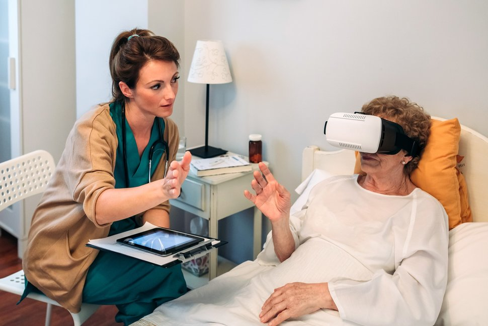 A patient using VR technology.