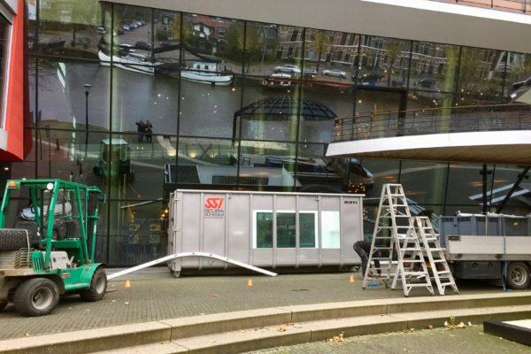 The Rabobank installed a warm water tank in front of De Harmonie in Leeuwarden.